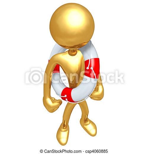 Gold Guy Life Preserver Concept - csp4060885