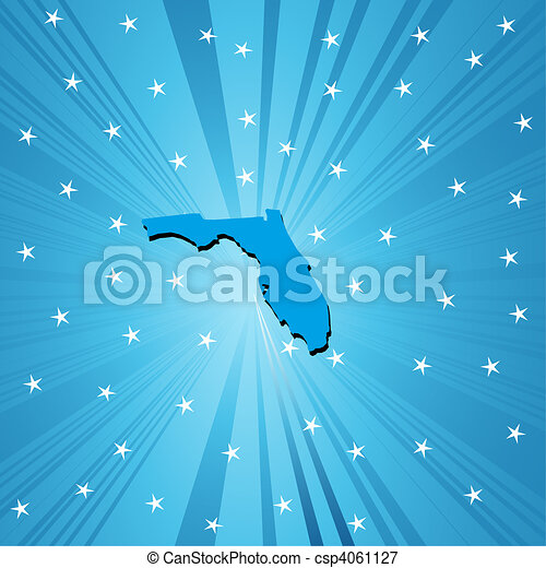 Blue map of Florida - csp4061127