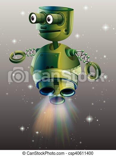 Vector Clip Art de vuelo verde robot espacio  Green robot