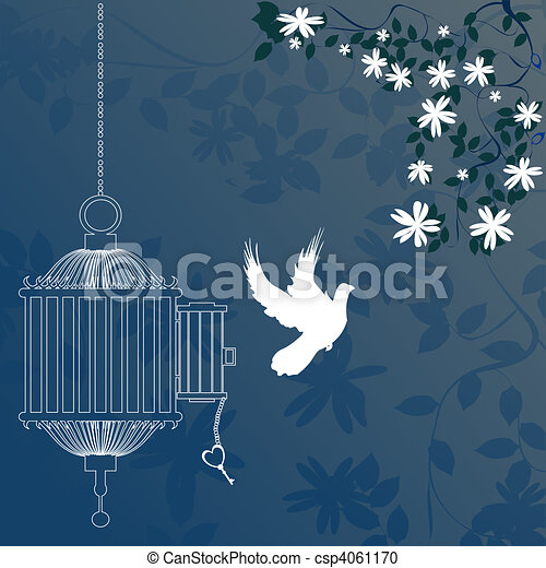 Bird and cage  - csp4061170