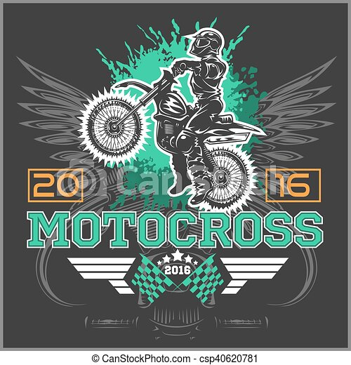 Extreme motocross. Emblem, t-shirt design. - csp40620781