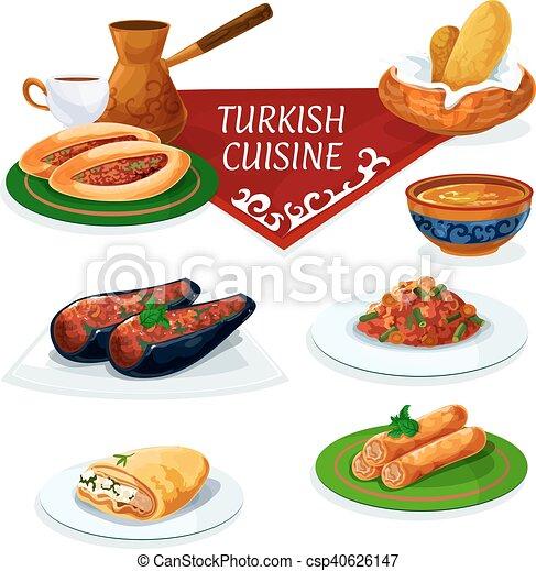 Vecteur eps de cuisine plats turc traditionnel dessin - Cuisine turc traditionnel ...