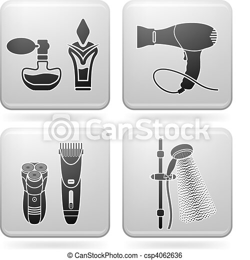 Clip art vector of bath utensils bathroom utensils and for Bathroom utensils