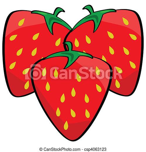 fresas, caricatura - csp4063123