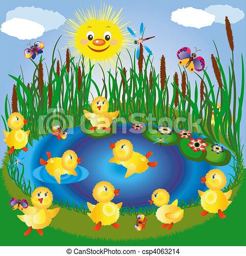 Disegno di lago anatroccoli insetti solecsp4063214 for Lago disegno