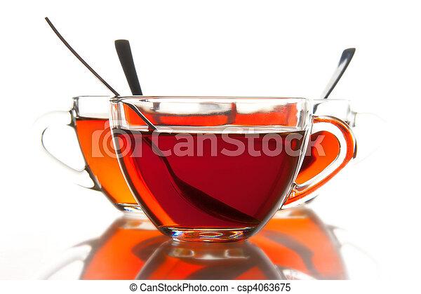 Tea cups and tea - csp4063675