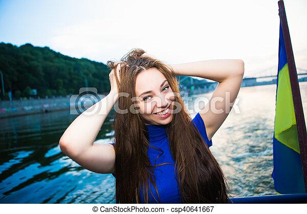 Portrait of beautiful cheerful woman - csp40641667