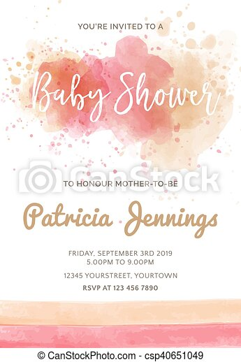 Gorgeous watercolor baby shower invitation - csp40651049