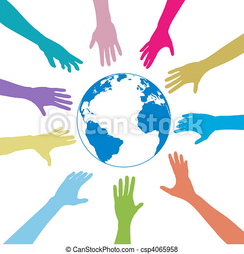Colors people hands reach out globe earth - csp4065958