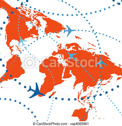 Colorful airline planes travel flights air traffic - csp4065961