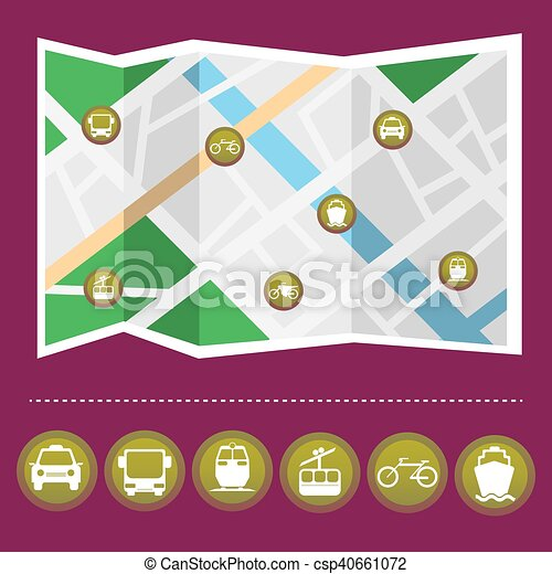 Transportation Colorful Icon Set on the Map - csp40661072