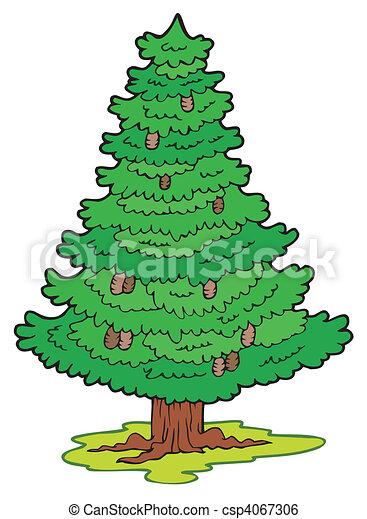 卡通漫画, 针叶树, 树, -, 矢量, 描述