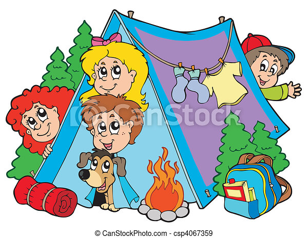 Group of camping kids - csp4067359