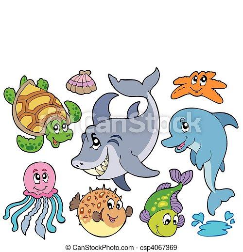 Happy sea animals collection - csp4067369