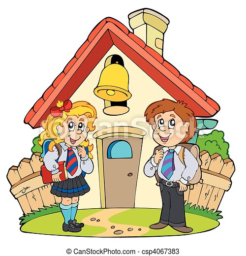 Small school with kids in uniforms - csp4067383
