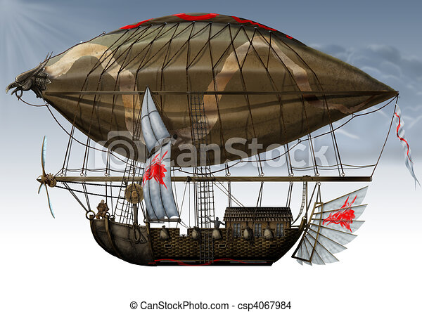 military fantastic Zeppelin. - csp4067984