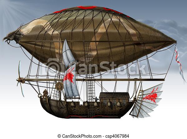 military fantastic Zeppelin. - csp4067984