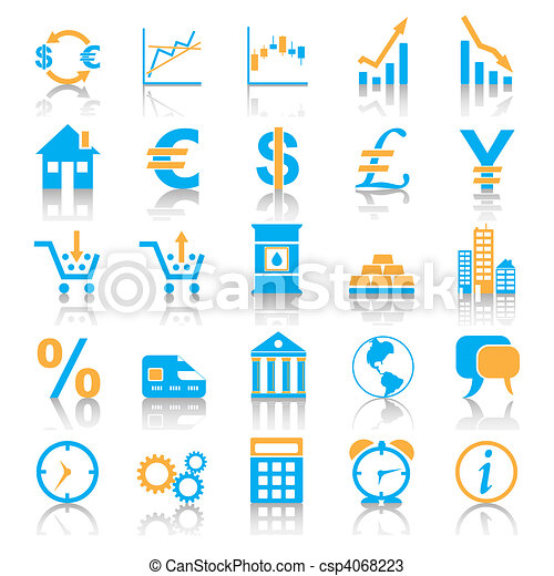 Icon set in blue style for markets. - csp4068223