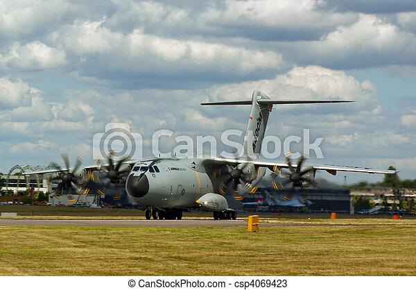Farnborough Airshow 2010 - A400M Military Transport Aircraft taking off - csp4069423