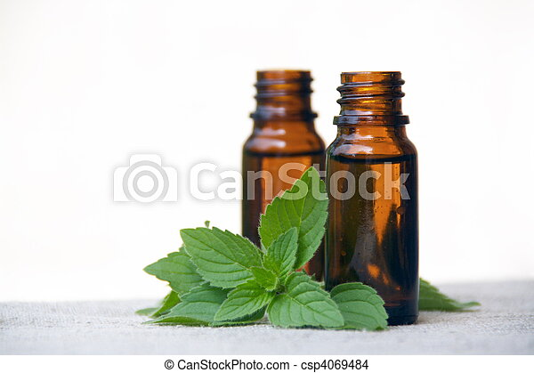 Aroma Oil in Bottles with Mint - csp4069484