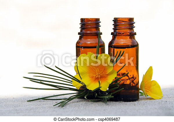 Aroma Oil in Bottles with Pine and Flower - csp4069487