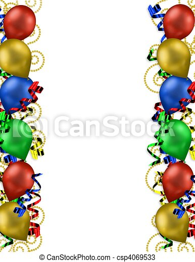 Drawings Of Birthday Balloons Border For Greeting Card Or