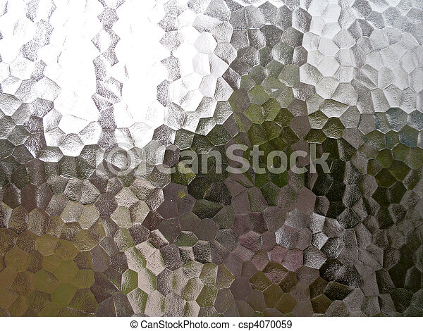 Translucent pentagon background with a frosted ice or glass appearance with multible colors seen in the glass - csp4070059