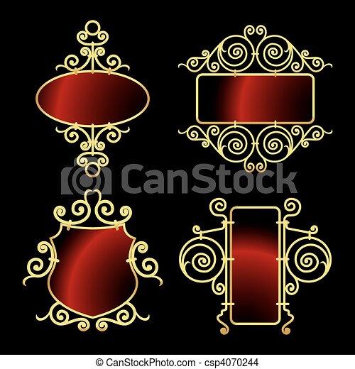 golden wrought iron frames - csp4070244