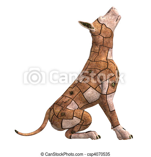 rusty scifi dog of the future.3D rendering and shadow over white - csp4070535