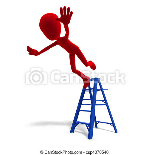 3d male icon toon character falls from the ladder. 3D rendering and shadow over white - csp4070540