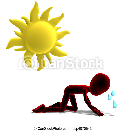 3d male icon toon character sweating in the sun. 3D rendering and shadow over white - csp4070543
