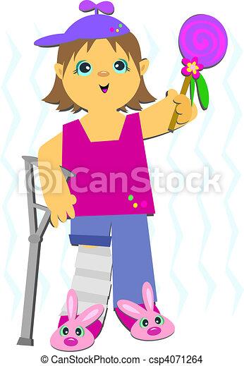 Girl in Crutches - csp4071264