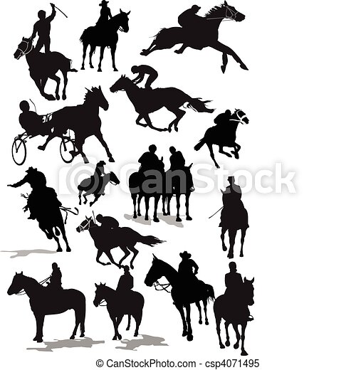 Horse  racing silhouettes. Colored - csp4071495