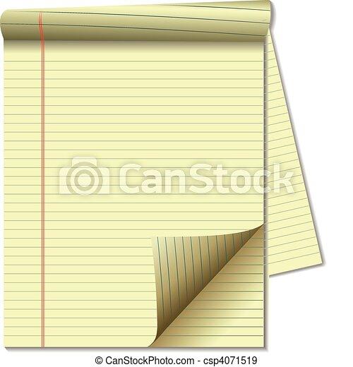 YELLOW LEGAL PAD CORNER PAPER PAGE - csp4071519