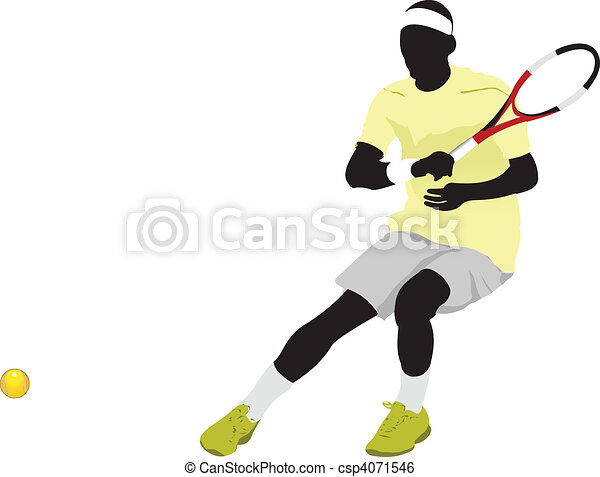 Tennis player poster. Colored Vect - csp4071546