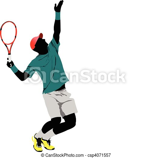 Lawn Tennis Drawing Tennis Player Colored Vector