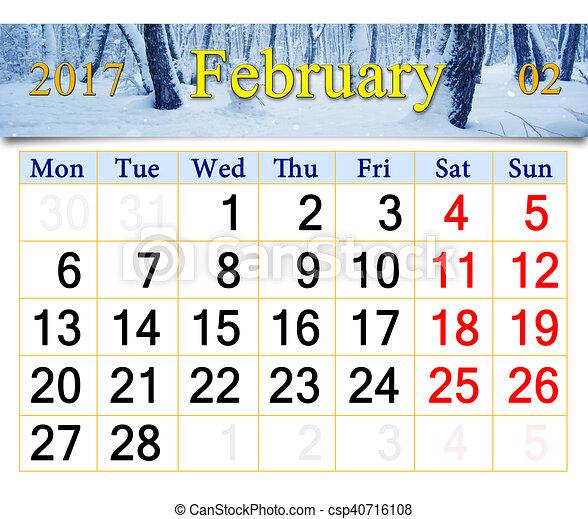 Kalender, für, der, februar,