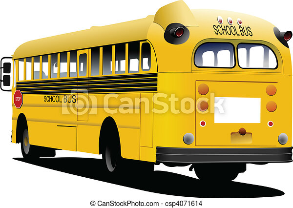 Yellow school bus. Vector illustrat - csp4071614