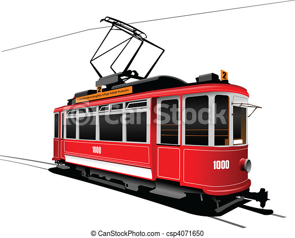 City transport. Vintage tram style - csp4071650