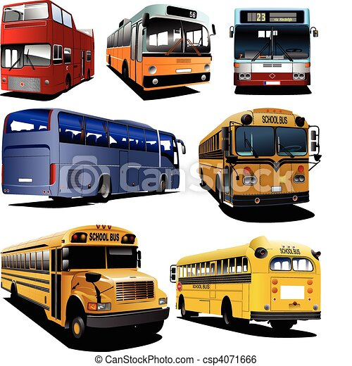 Seven city buses. Coach. School bu - csp4071666