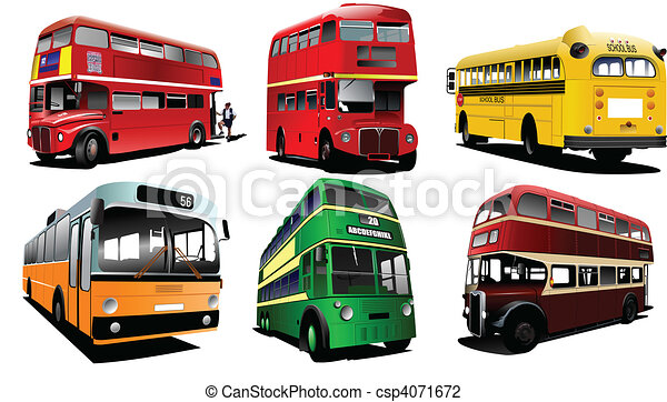 Six city buses. Coach. School bus. - csp4071672