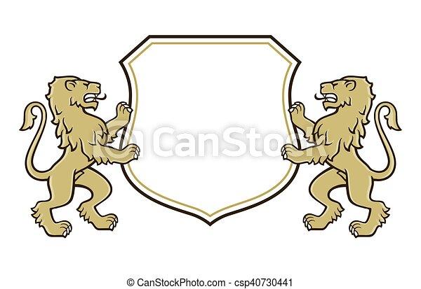 Lion coat of arms logo - csp40730441