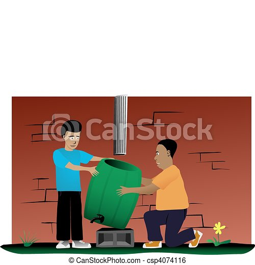 Father and Son Rain Barrel Installation Project - csp4074116