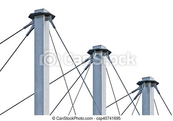 Tied Suspension Roof Cables, Three Tall Grey Isolated Masts, Cable-suspended Swooping Rooftop Pylon Anchors, Pale Blue Summer Sky, Large Detailed Horizontal Closeup, Contemporary Construction Concept