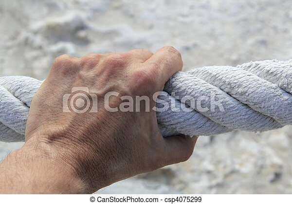 man hand grab grip strong big aged rope - csp4075299