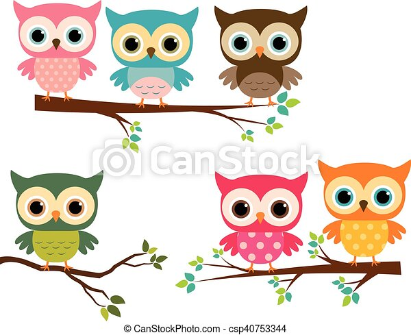 Cute colorful owls on tree branches - csp40753344