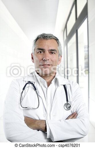 gray hair expertise senior doctor hospital portrait - csp4076201