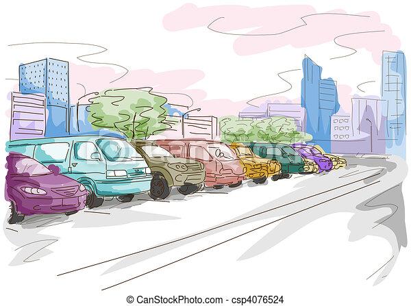 Parking Lot Drawings Parking Lot Csp4076524
