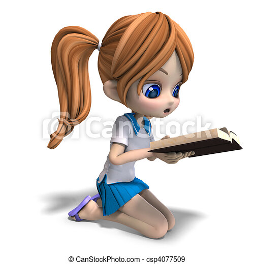 cute little cartoon school girl reads a book. 3D rendering and shadow over white - csp4077509