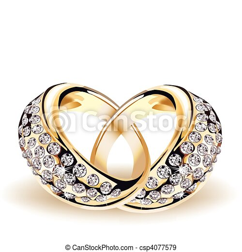 Gold vector wedding rings and diamonds - csp4077579